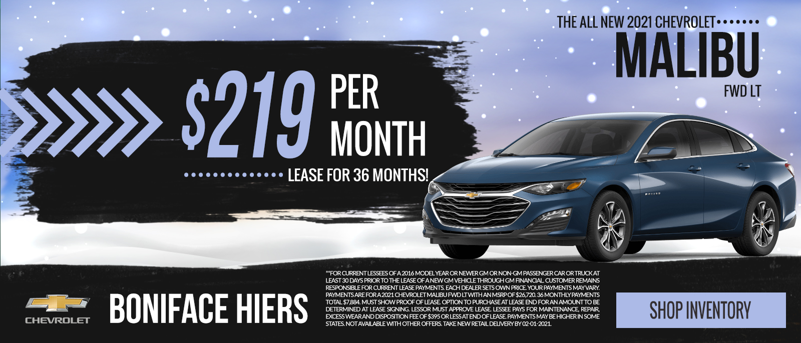 2020 Chevy Malibu LT.  Lease for  $249 per month