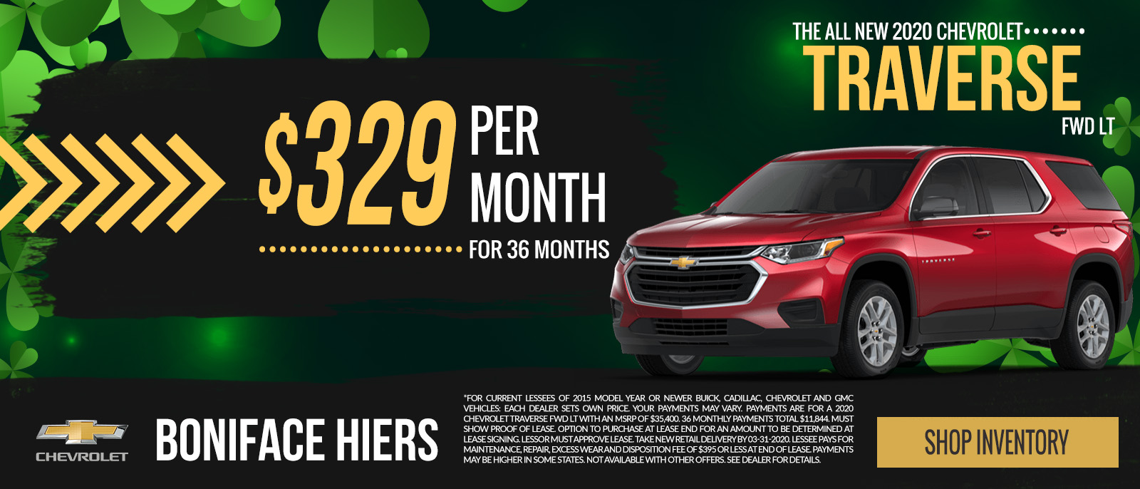 2020 Chevy Traverse FWD LT.  Lease for  $329 per month