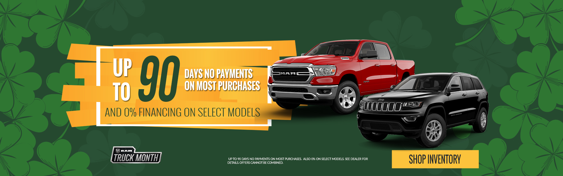 up to 90 days no payments on most purchases.  Also 0% on select models.