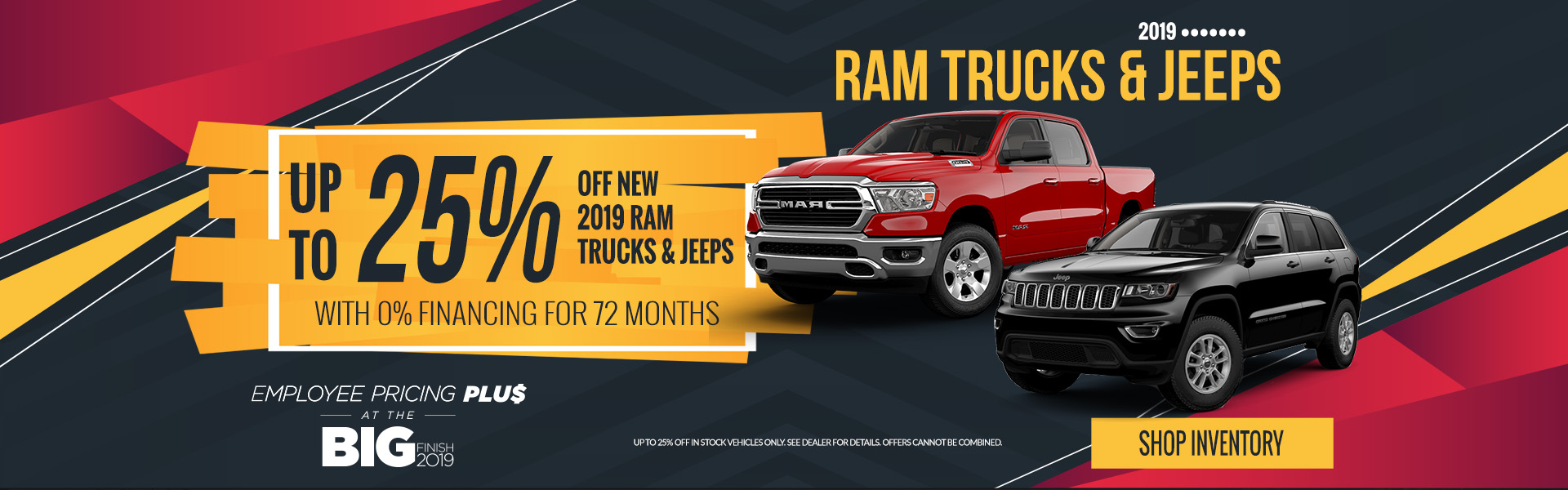 Up to 25% off Ram Trucks and Jeeps