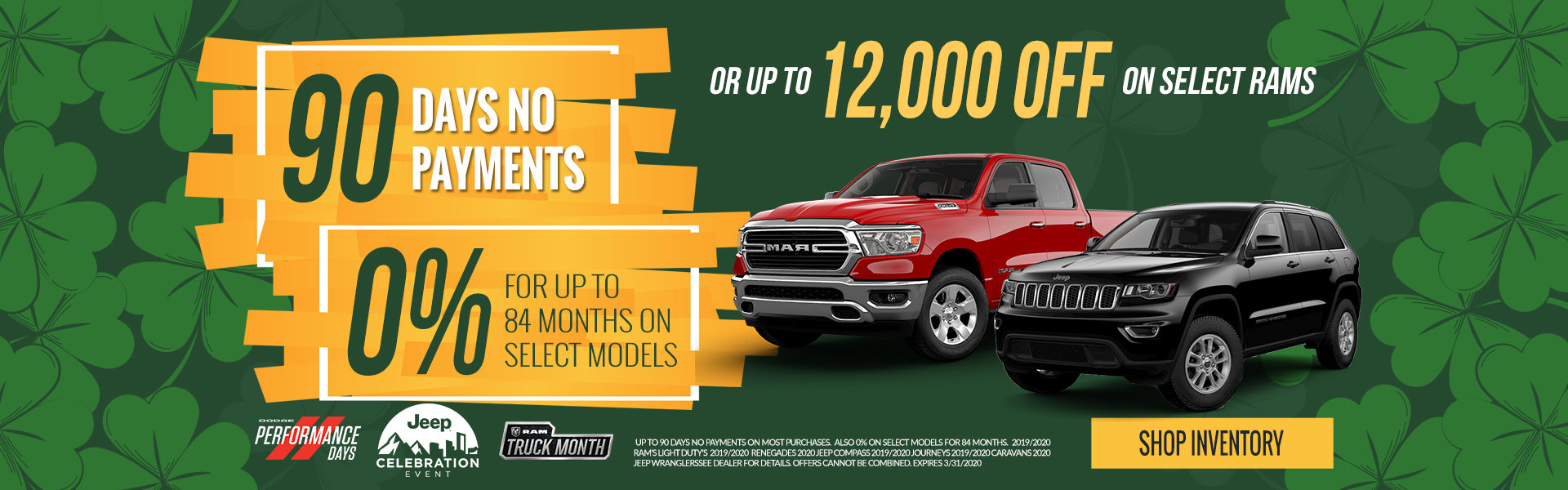 0% for up to 84 months on select models.  Up to 90 days no payments or up to 12K off on select Rams.